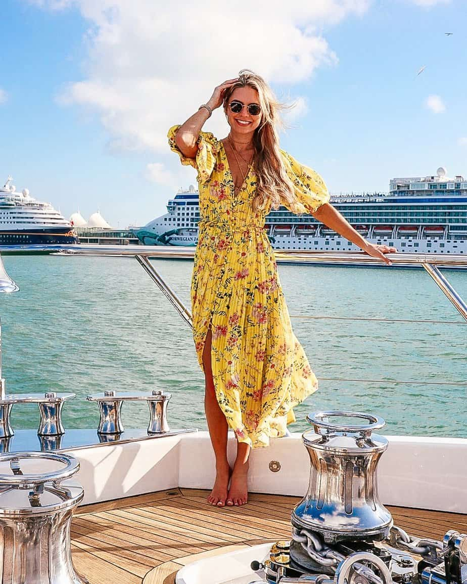 yellow maxi dress beach vacation outfit