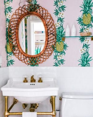 palm beach decor pineapple wallpaper bathroom