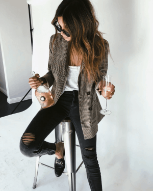 what to wear with black ripped jeans skinny jeans and blazer outfit