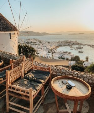 mykonos sunset windmills