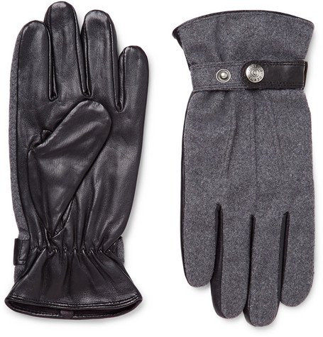 Flannel and Leather Gloves by Guildford Mélange