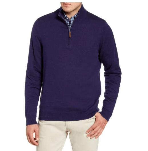 Mens Half Zip Cotton & Cashmere Pullover