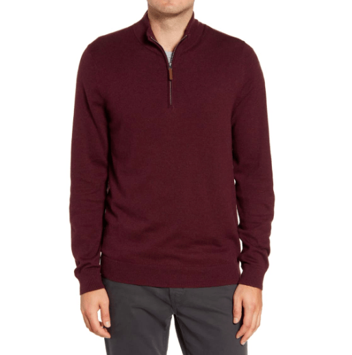 Mens Half Zip Cotton & Cashmere Pullover