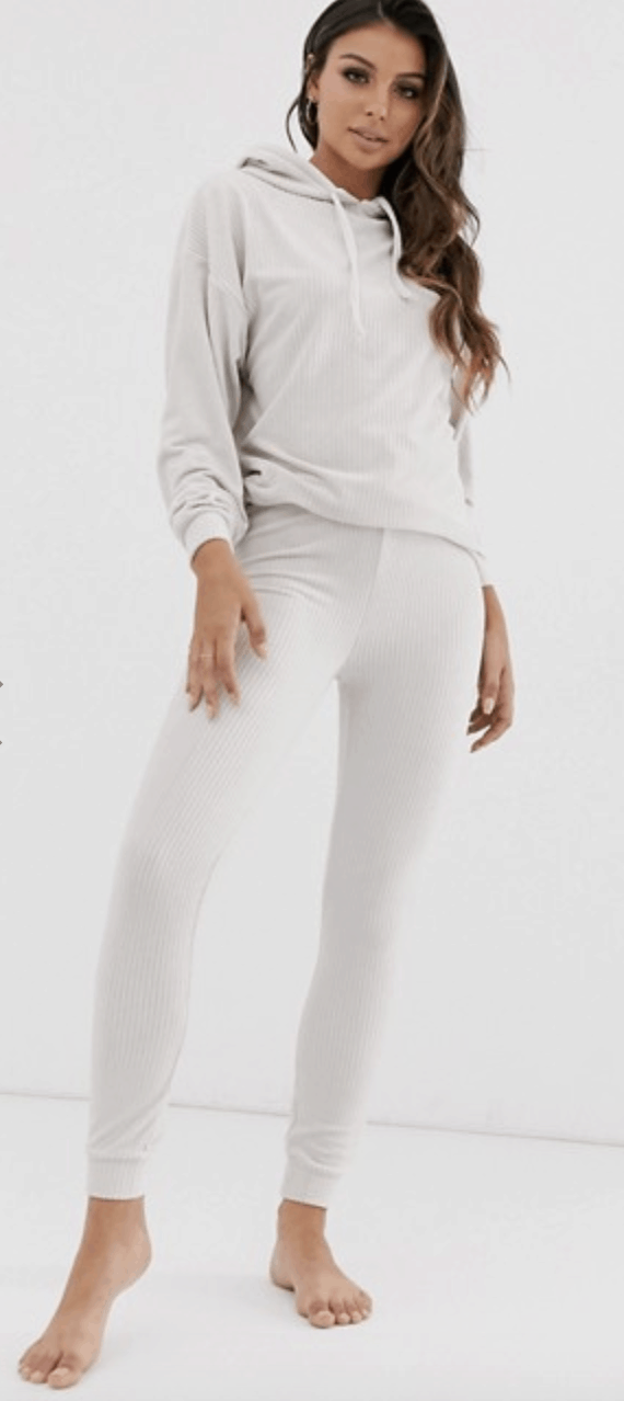ASOS DESIGN lounge ribbed velour drop armhole hoodie & legging set