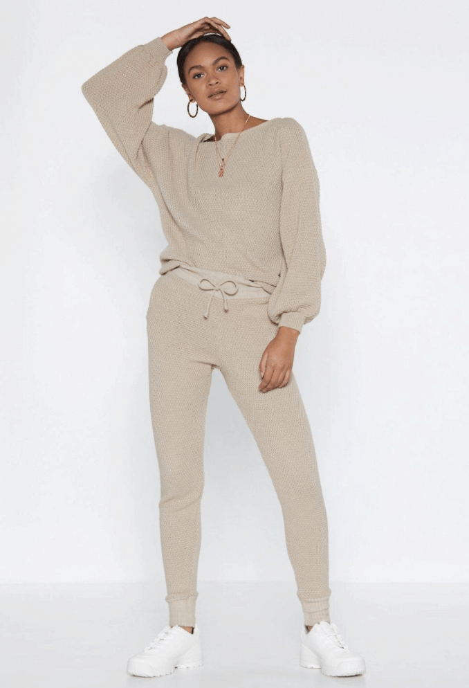 Puff Sleeve Knit Sweater And Matching Joggers Set