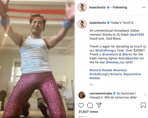 isaac boots doing torchd workout on instagram live