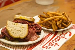 smoke meat sandwich at schwartzs deli montreal