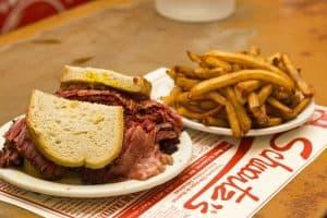 smoke meat sandwich at schwartzs deli montreal