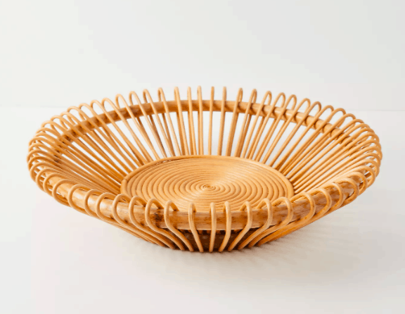 Anthropologie Handwoven Rattan Bowl