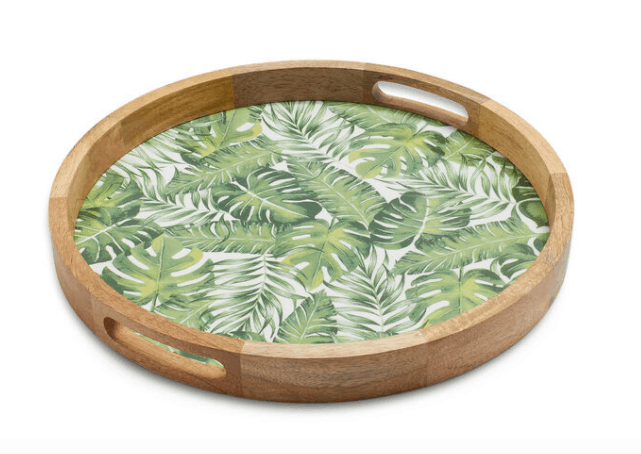Sur La Table Round Tray Palm Leaves