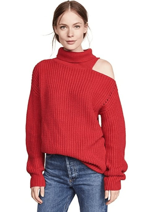 ASTR The Label Women's Sepulveda Turtle Neck Asymmetric Cut-Out Sweater