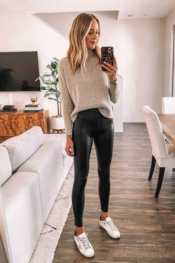 leather leggings with sneakers