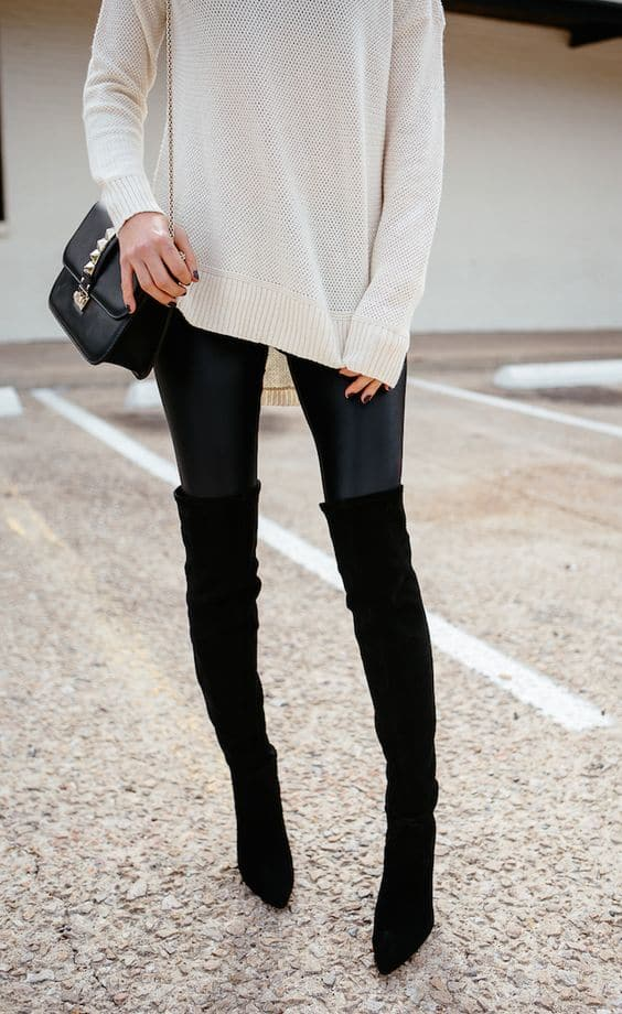Leather leggings with knee high boots