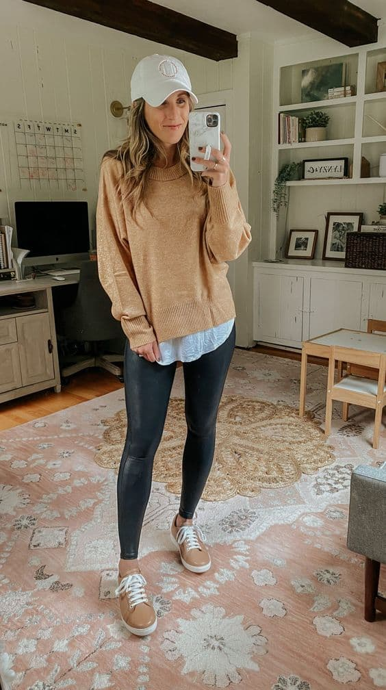 leather leggings with layering