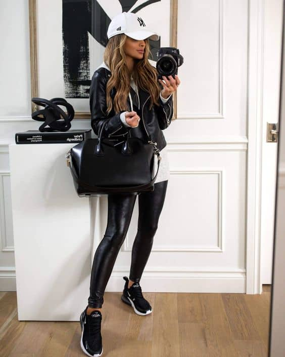 leather leggings with a leather jacket