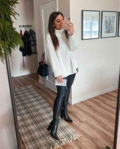 leather leggings with an oversized sweater