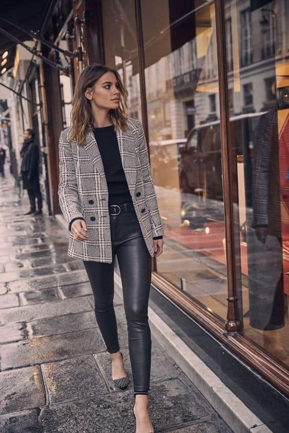 leather leggings with a blazer