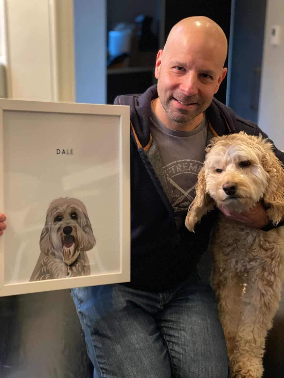 My father, dog, and a portrait of my dog from Premvy