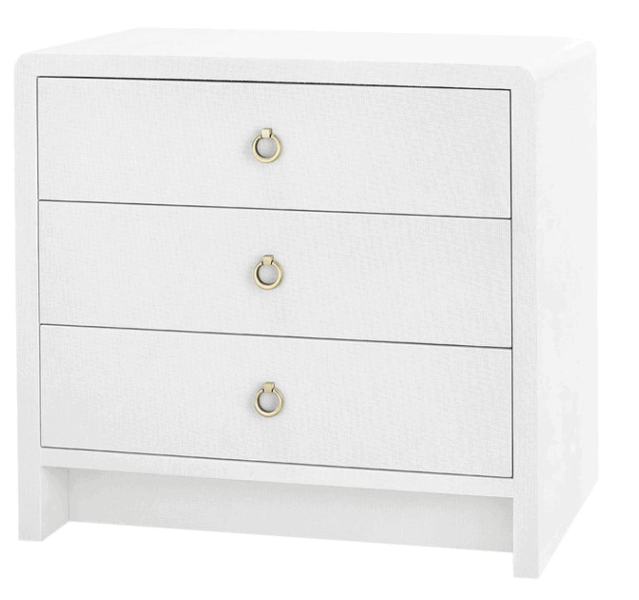 Bryant Linen 3-Drawer Side Table, White Linen