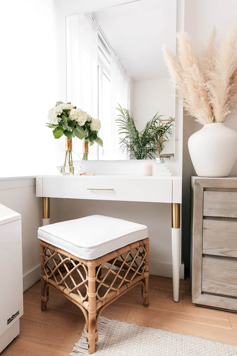 wood vanity table with bamboo stool