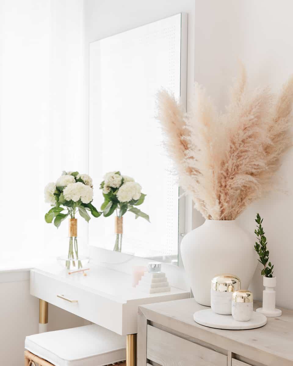 white vanity table pampas grass