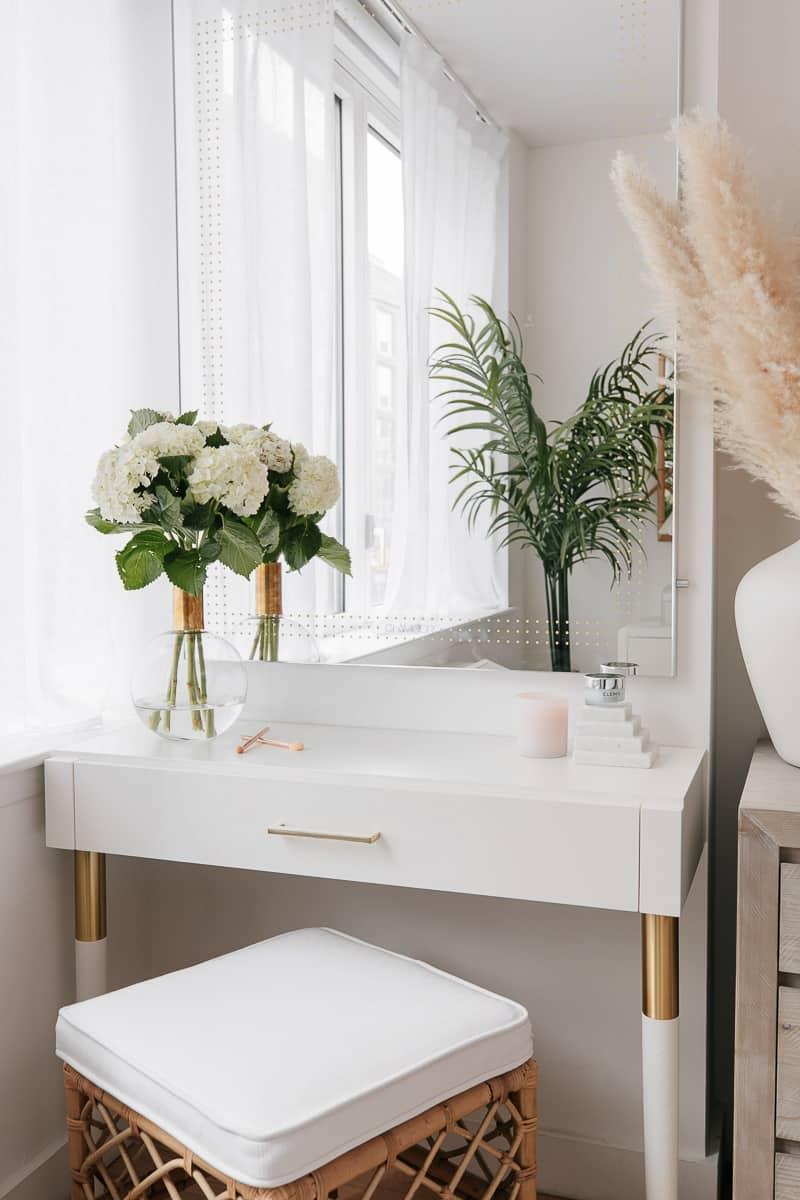 white wood vanity table