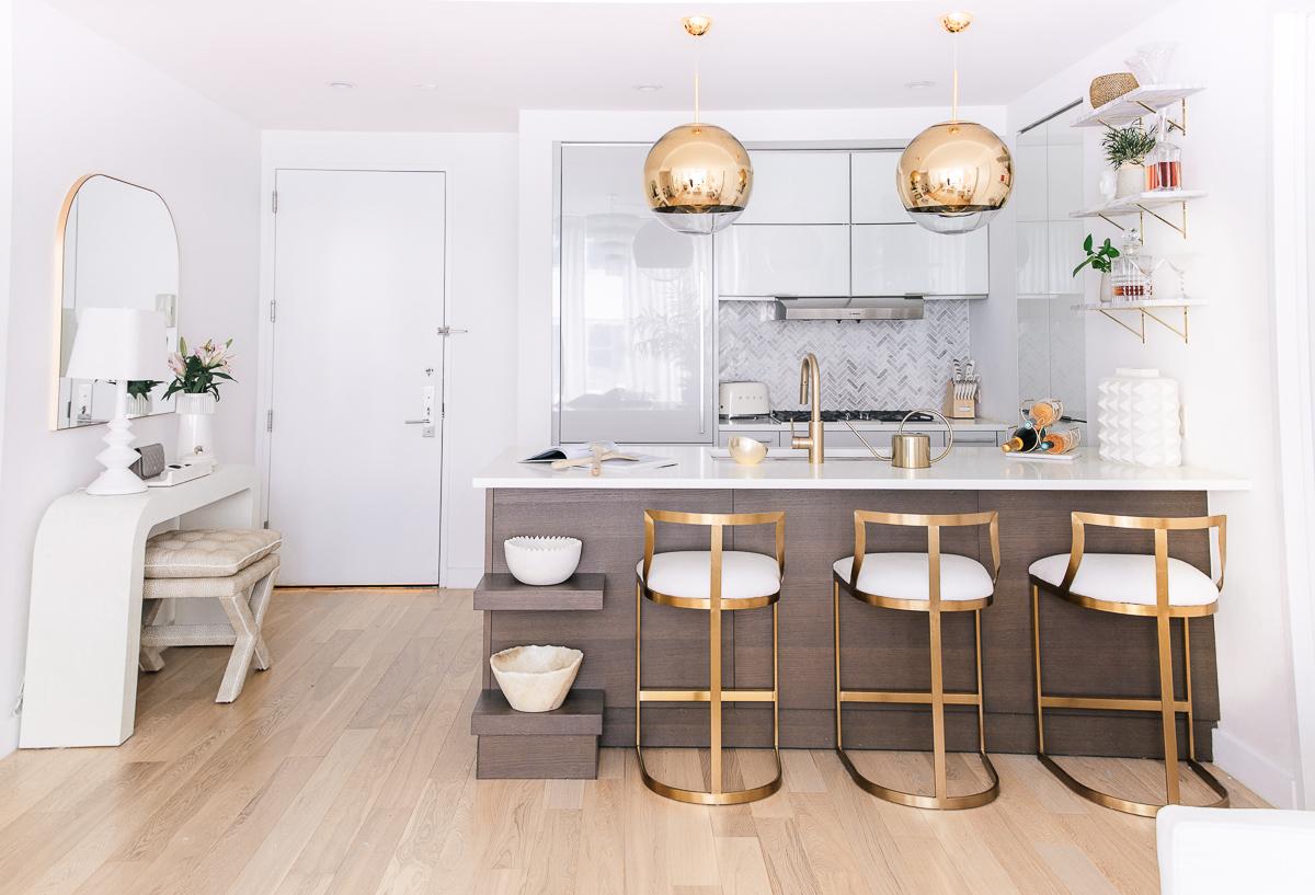 modern kitchen gold pendant lights