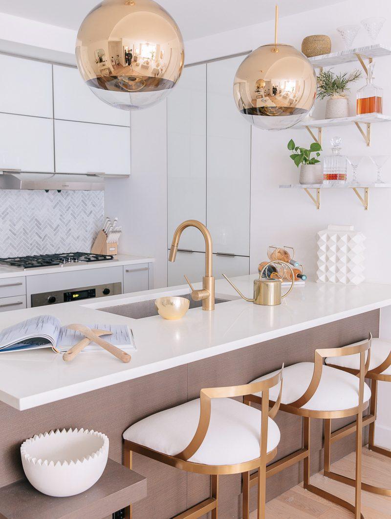 modern kitchen gold pendant lights lindsay silberman apartment