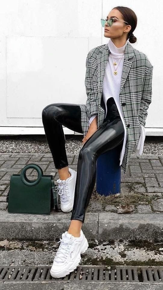 leather leggings with a blazer and white sneakers