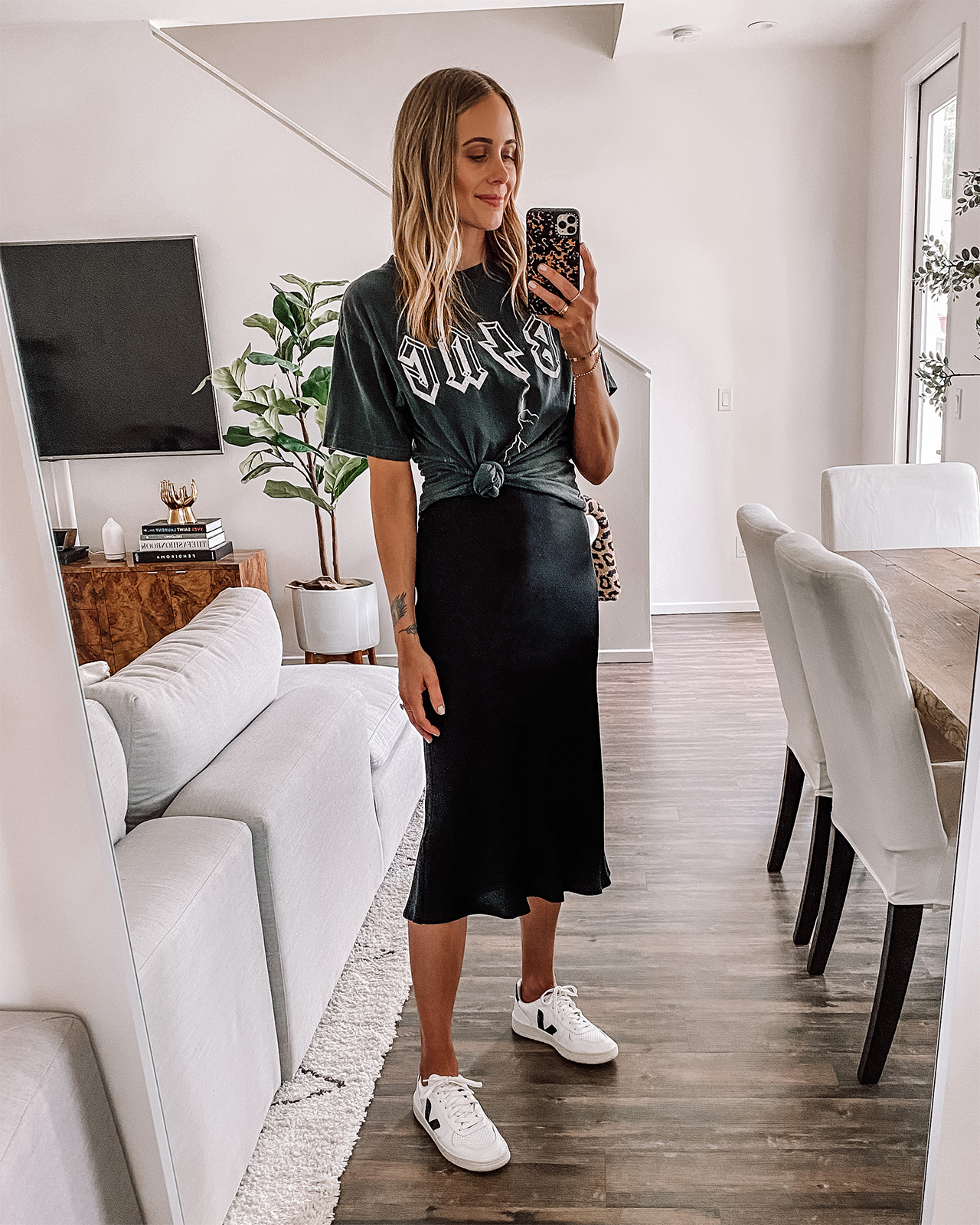 midi skirt with t shirt and white sneakers