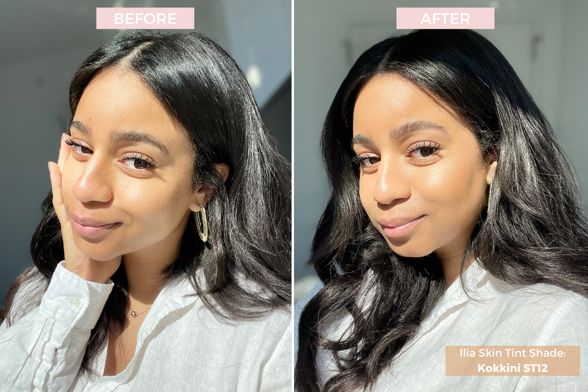 ilia skin tint review before and after