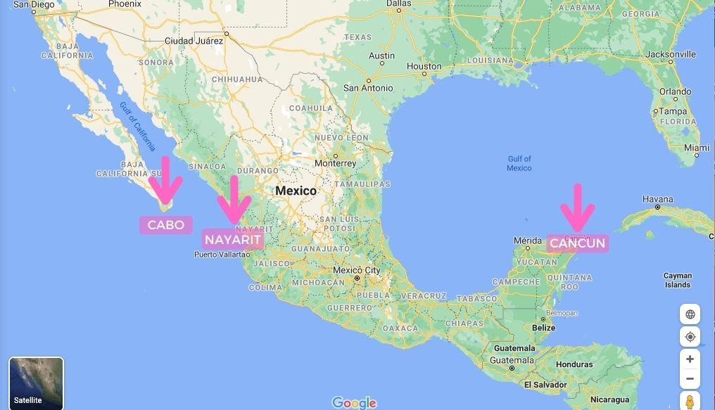 cancun cabo puerto vallarta map